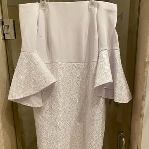Off the shoulder white trumpet sleeve dress